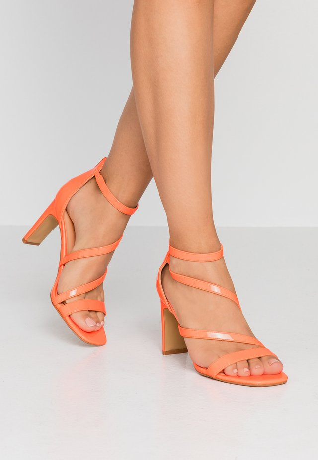 WIDE FIT STEPH SLIM HEEL STRAPPY - Sandals - orange neon
