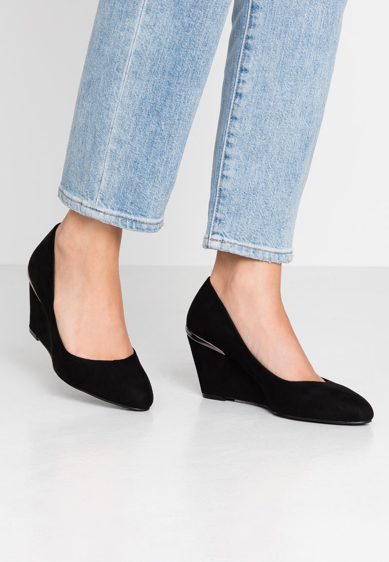Simply Be - WIDE FIT CLASSIC WEDGE COURT - Wedges - black