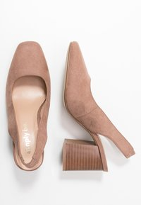 Simply Be - WIDE FIT LEXIS BLOCK HEEL SQUARE TOE SLINGBACK - Classic heels - taupe - 3