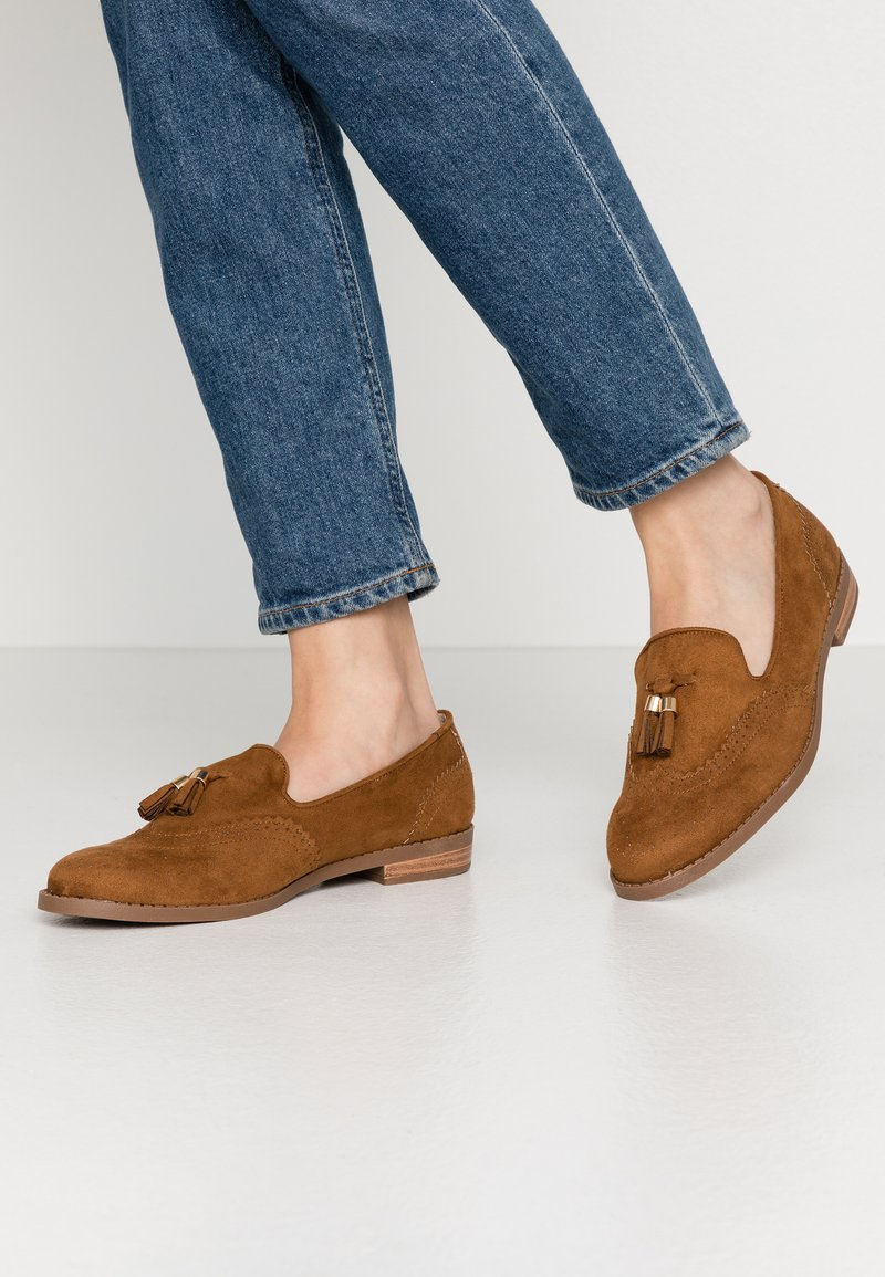 Simply Be - WIDE FIT JESSICA - Loaferit/pistokkaat - tan