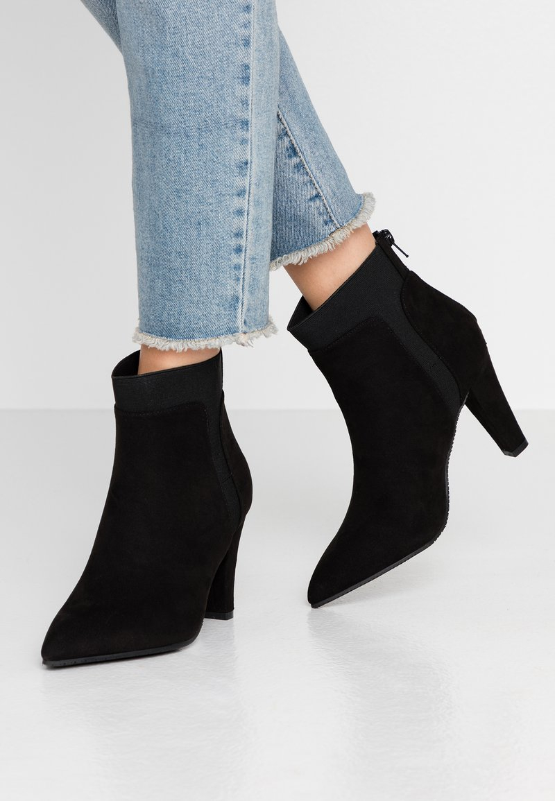 Simply Be - WIDE FIT AUDREY POINTED INSERT HEELED - Ankle boots - black