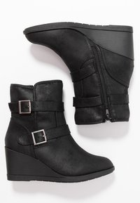 Simply Be - WIDE FIT SARAH CASUAL WEDGE BOOT - Wedge Ankle Boots - black - 3
