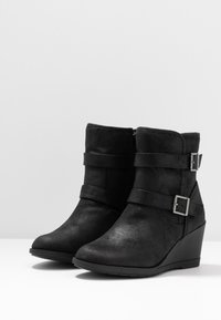 Simply Be - WIDE FIT SARAH CASUAL WEDGE BOOT - Wedge Ankle Boots - black - 4