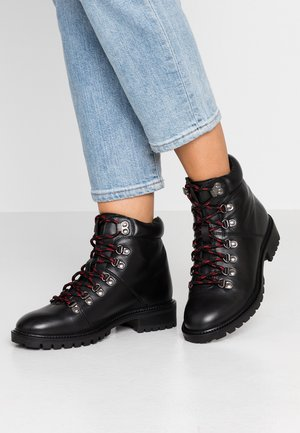 WIDE FIT LACE UP BOOT - Lace-up ankle boots - black