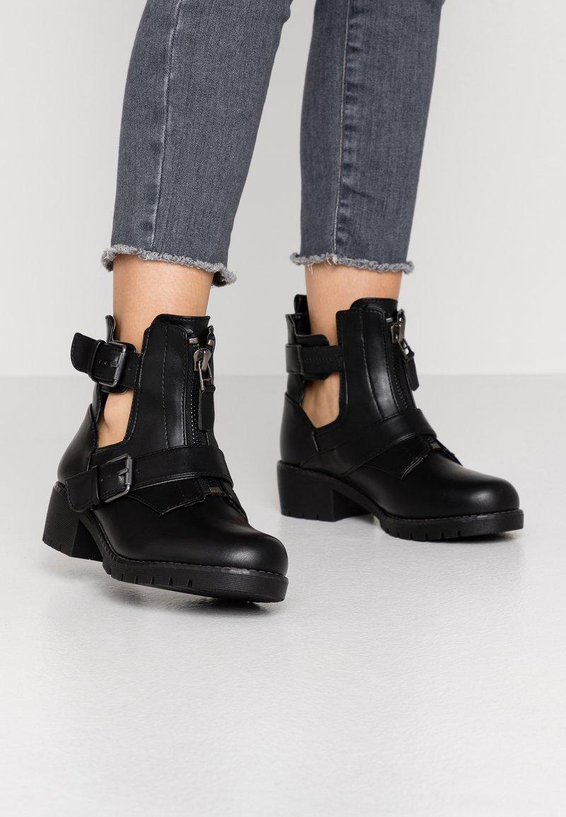 Simply Be - WIDE FIT MISHA - Kovbojské/motorkářské boty - black
