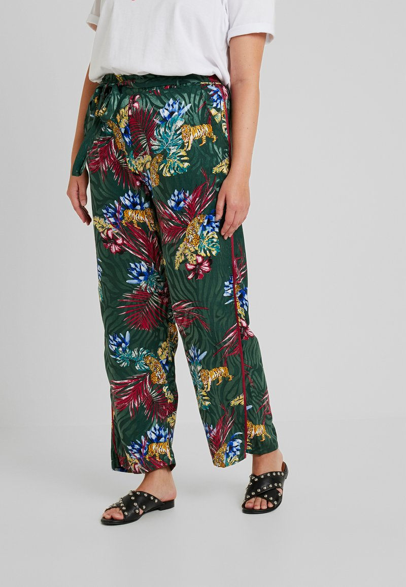 Simply Be - PRINT TAPERED TROUSER - Pantalon classique - dark khaki