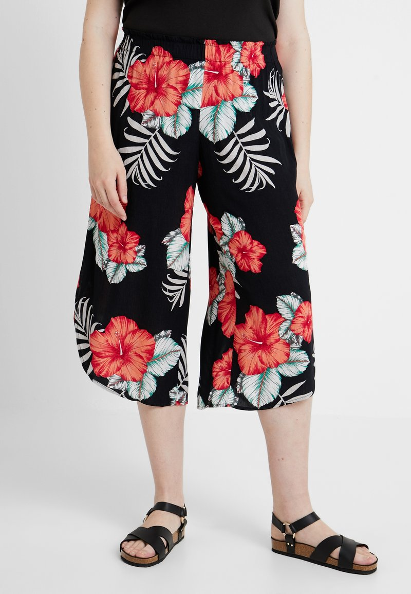 Simply Be - PRINT CURVED CULOTTES FLORAL - Shortsit - black