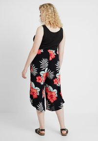 Simply Be - PRINT CURVED CULOTTES FLORAL - Shortsit - black - 2