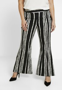 Simply Be - STATEMENT WIDE PRINT - Bukse - black/white - 0