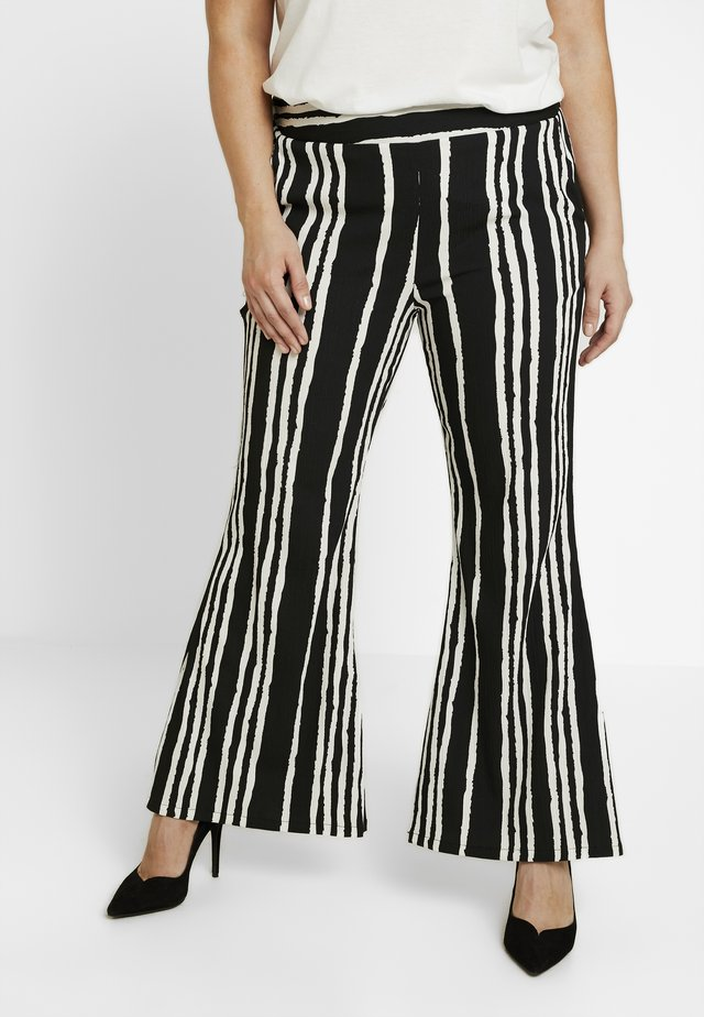 STATEMENT WIDE PRINT - Trousers - black/white