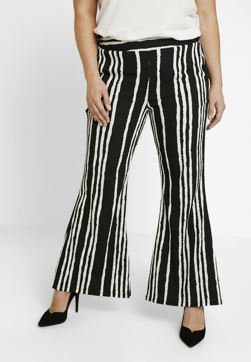 Simply Be - STATEMENT WIDE PRINT - Bukse - black/white