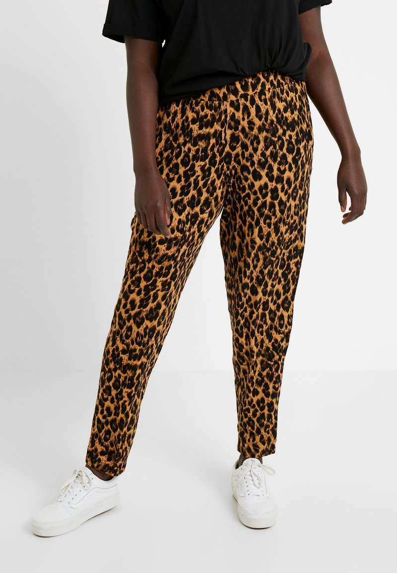 Simply Be - LEOPARD PRINT HAREM TROUSER - Trousers - brown