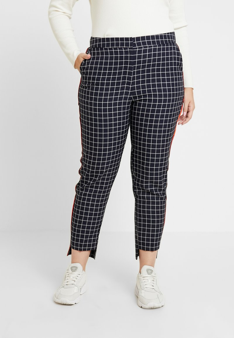 Simply Be - NEW WAISTBAND EXTERAL WINDOW PANE TAPERED TROUSERS - Kalhoty - navy