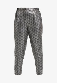 Simply Be - PRINT STRETCH TAPERED TROUSERS - Pantalones - black / silver - 4