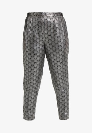 PRINT STRETCH TAPERED TROUSERS - Trousers - black / silver