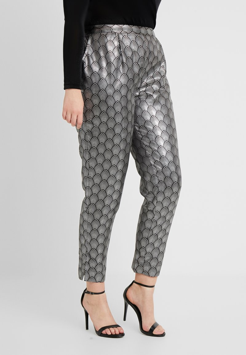 Simply Be - PRINT STRETCH TAPERED TROUSERS - Pantalones - black / silver