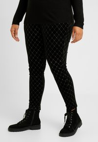 Simply Be - METALLIC STUD - Leggings - black/gold - 0