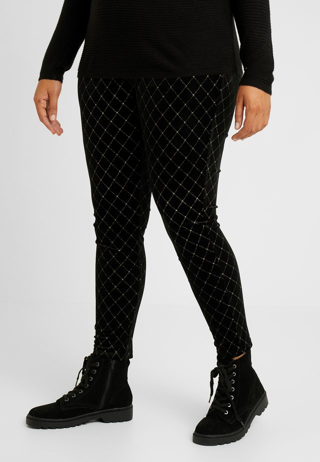 METALLIC STUD - Leggings - black/gold