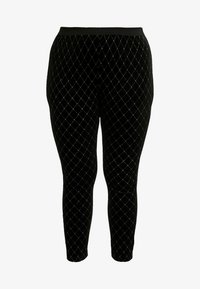 Simply Be - METALLIC STUD - Leggings - black/gold - 3
