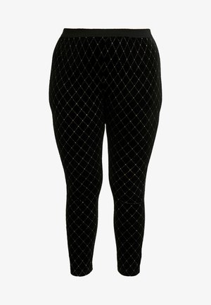 METALLIC STUD - Leggingsit - black/gold