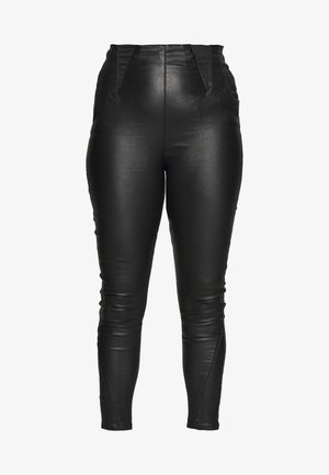 COATED HIGH WAIST SHAPER JEGGINGS - Spodnie materiałowe - black