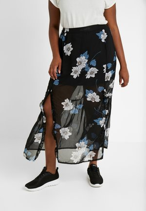 DOUBLE SPLIT GEORGETTE SKIRT - Maksihame - black