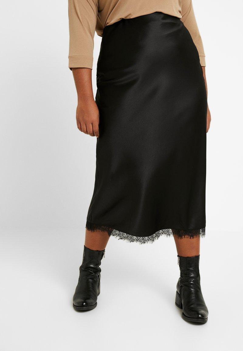 Simply Be - COLUMN SKIRT WITH TRIM - Pouzdrová sukně - black