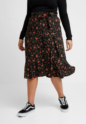 RUFFLE FRONT MIDI SKIRT - Gonna a campana - black
