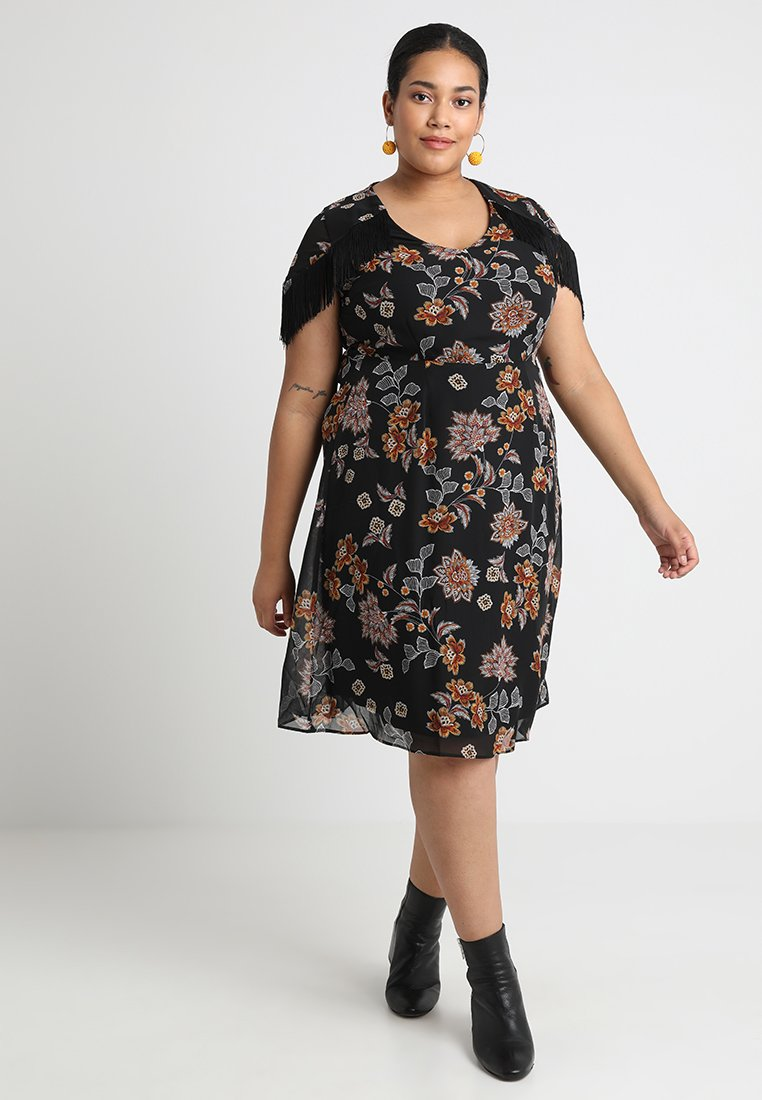 Simply Be - FRINGE SHOULDER DRESS WITH HANKY HEM DETAIL - Freizeitkleid - black