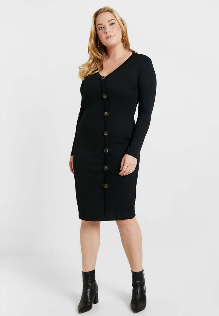 Simply Be - SIDE BUTTON DRESS - Pouzdrové šaty - black