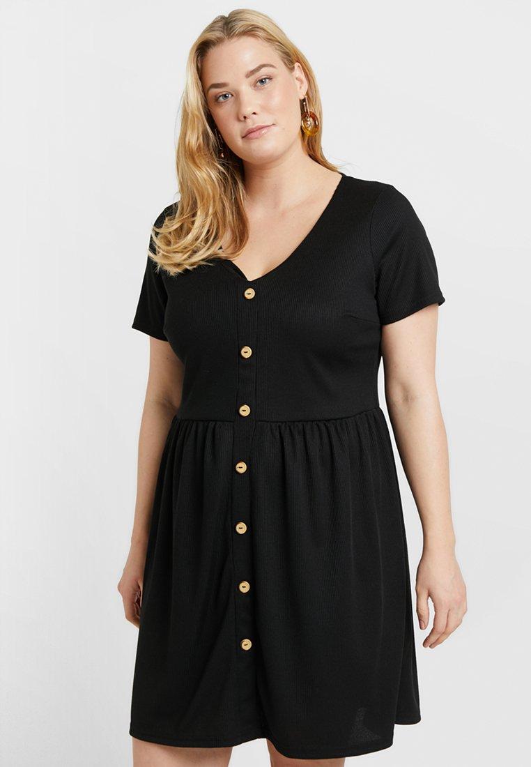 Simply Be - BUTTON THROUGH DRESS - Jerseykleid - black