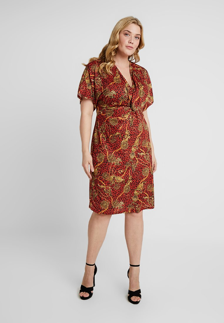 Simply Be - PRINTED TWIST KNOT MIDI DRESS - Shift dress - multi-coloured