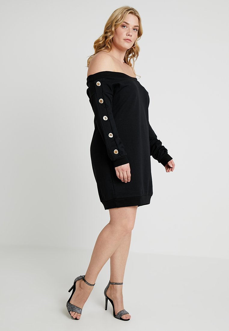 Simply Be - BUTTON SLEEVE DRESS - Day dress - black