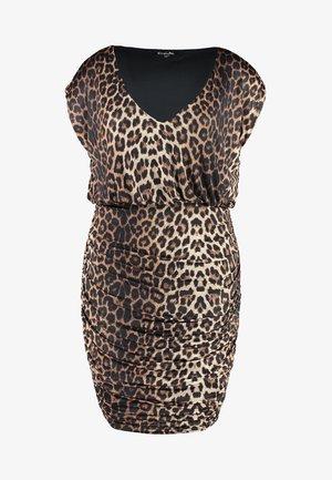 RUSHED SIDE V NECK DRESS - Pouzdrové šaty - multi coloured