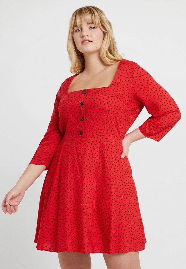 SQUARE NECK TEA DRESS - Blousejurk - red
