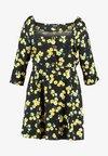 SQUARE NECK TEA DRESS - Vestido camisero - black/yellow