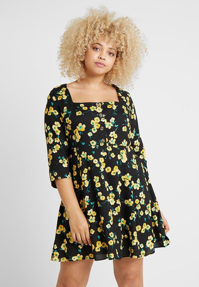 SQUARE NECK TEA DRESS - Skjortekjole - black/yellow