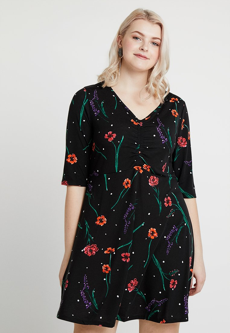 Simply Be - RUCHED FRONT SKATER DRESS - Jerseykleid - black