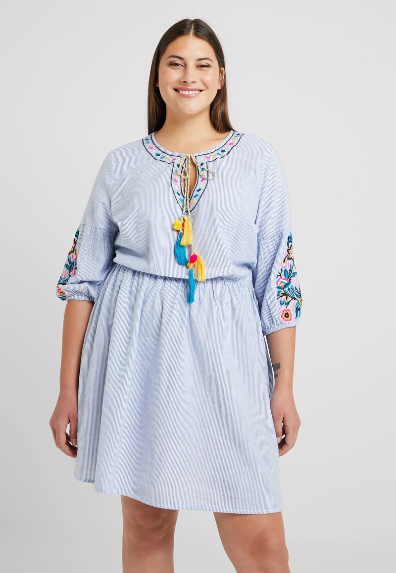 Simply Be - EMBROIDERED STRIPE DRESS - Day dress - blue