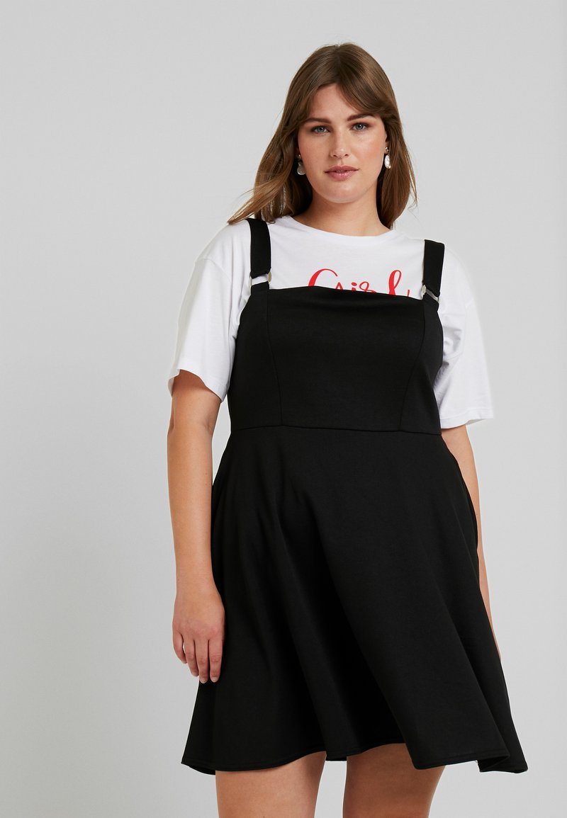 Simply Be - BLACK PONTE PINAFORE DRESS - Vestido ligero - black