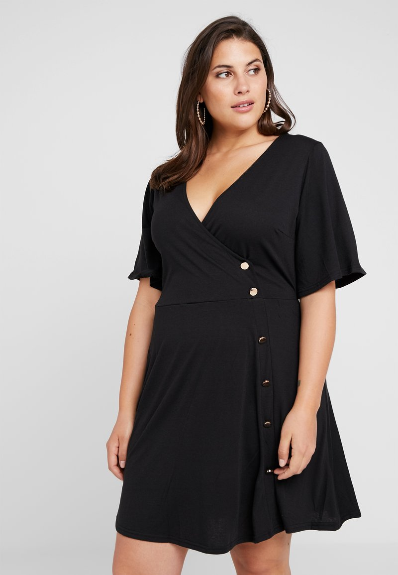 Simply Be - BUTTON THROUGH WRAP SKATER DRESS - Jerseyjurk - black