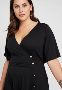 Simply Be - BUTTON THROUGH WRAP SKATER DRESS - Jerseyjurk - black - 4
