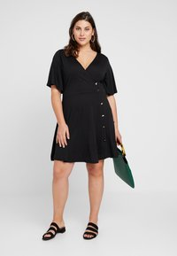 Simply Be - BUTTON THROUGH WRAP SKATER DRESS - Jerseyjurk - black - 1