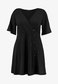 Simply Be - BUTTON THROUGH WRAP SKATER DRESS - Jerseyjurk - black - 3