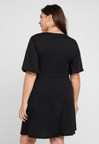 Simply Be - BUTTON THROUGH WRAP SKATER DRESS - Jerseyjurk - black - 2