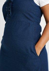 Simply Be - TIE FRONT SHIRRED BACK SQUARE NECK MIDI DRESS - Denimové šaty - indigo - 6