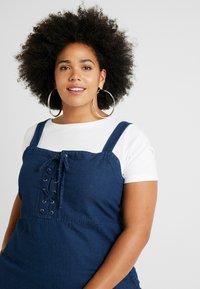 Simply Be - TIE FRONT SHIRRED BACK SQUARE NECK MIDI DRESS - Denimové šaty - indigo - 4