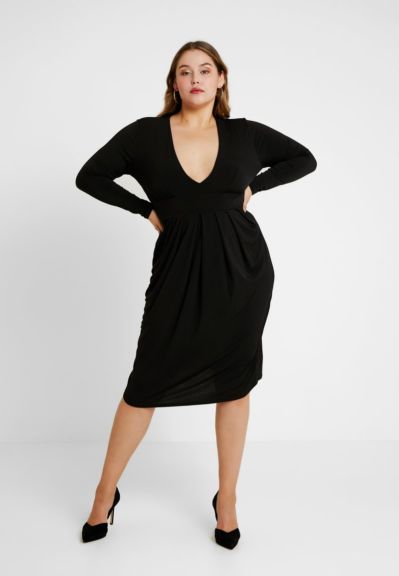 Simply Be - PLUNGE MIDI DRESS - Freizeitkleid - black