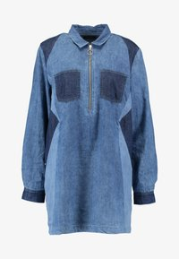 Simply Be - ILLUSION PANELL PATCHWORK ZIP FRONT - Tunique - blue wash - 4