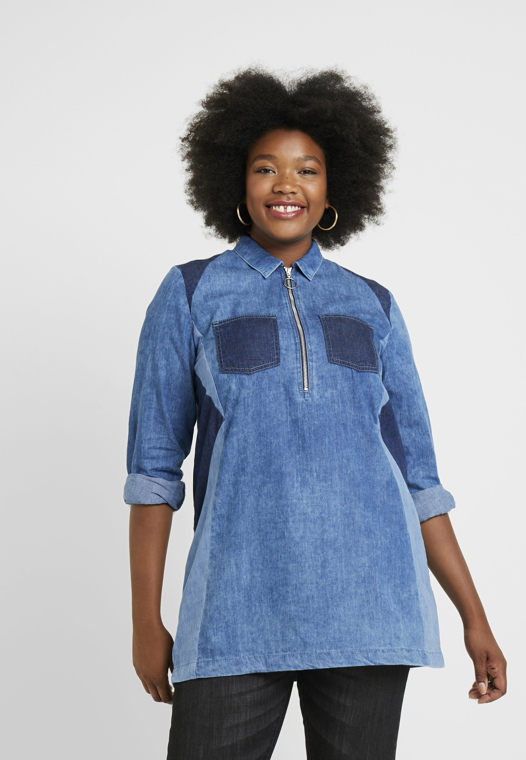 Blue Zip Wash Patchwork Simply Be Illusion FrontTunique Panell WE29IbeYDH